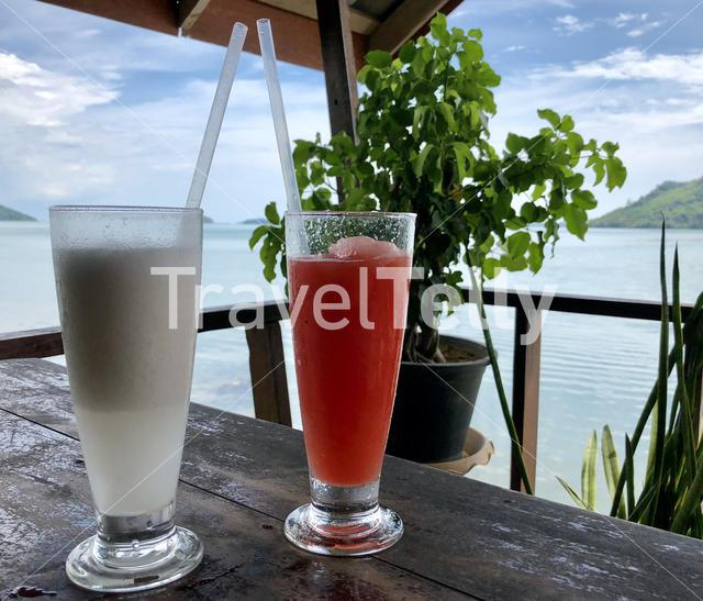 Coconut and watermelon smoothie in a restaurant on Koh Lanta Noi, Thailand