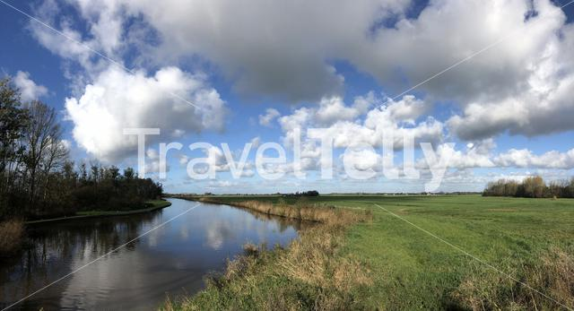 Panoramic view from nature reserve around Wolvega in Friesland, The Netherlands