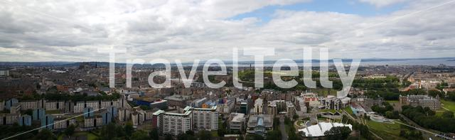 Panorama view over Edinburgh from Holyrood Park a royal park in Scotland
