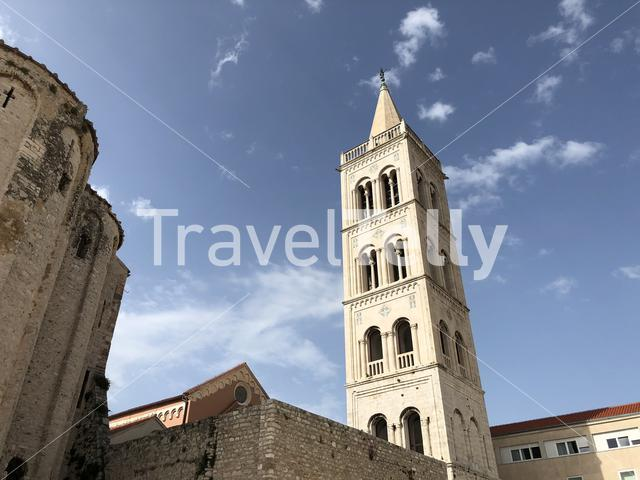 Roman Forum with the Crkva Sv. Donata church and bell tower in Zadar Croatia