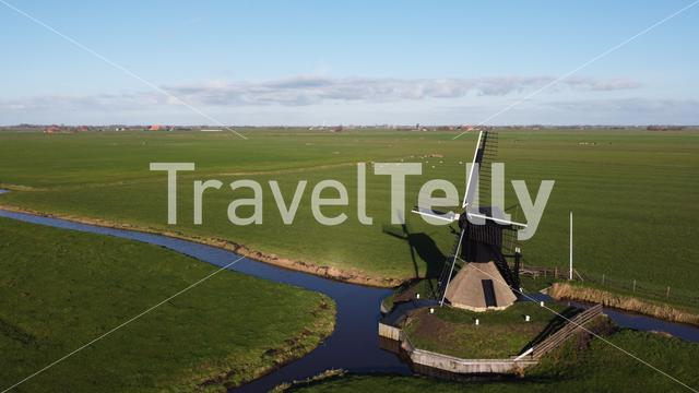 Aerial view from a windmill in Nijhuizum, Friesland The Netherlands