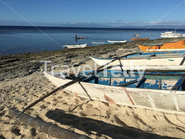 Catamaran Boats at the beach of Balicasag Island in Bohol the Philippiness
