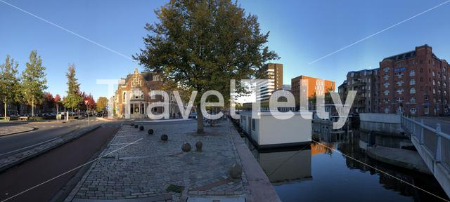 Panorama from a canal in Groningen, The Netherlands