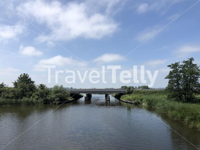 Highway over a canal in Friesland The Netherlands
