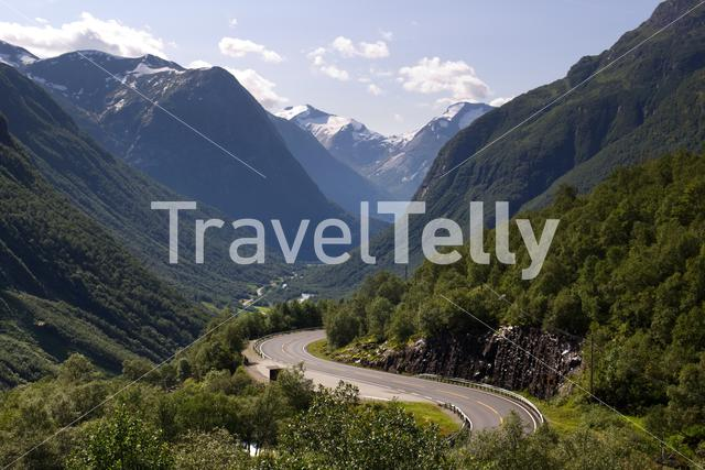 View over the winding road through the Hjelledalen valley in Norway.