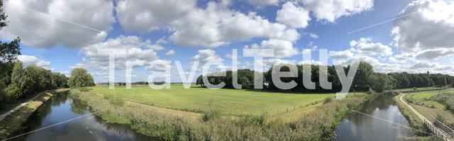 Panorama from the old ijssel river in Gelderland, The Netherlands