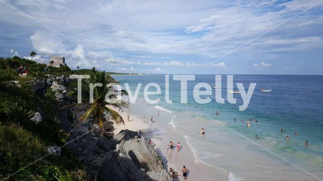 Beach in fron of the Ancient Mayan fortress in Tulum Yucatan, Mexico