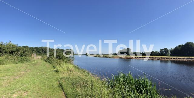 Panorama from the river Vecht around Beerze in Overijssel The Netherlands