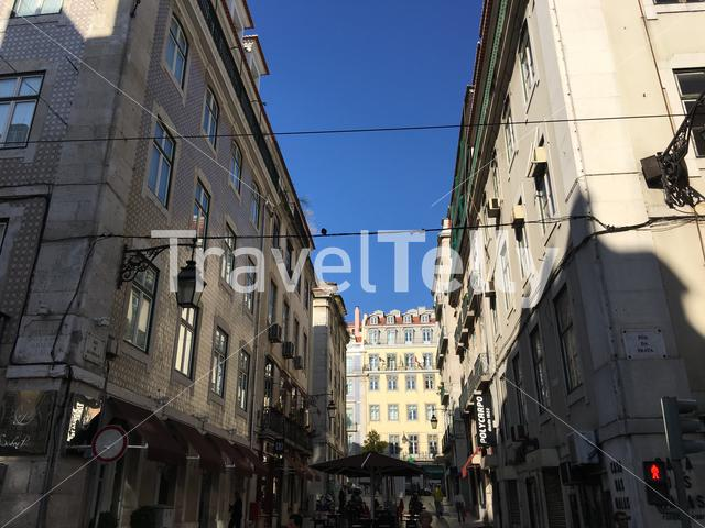 Historical buildings at Rua da Prata street in Lisbon Portugal