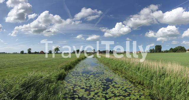 Panoramic landscape from around Rien in Friesland The Netherlands