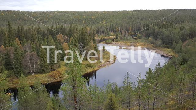 Aerial view from a lake in Oulanka National Park Finland