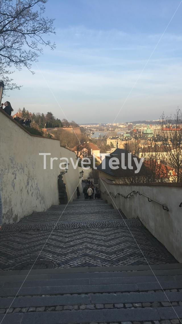 A sidewalk from Prague castle down to Vltava river