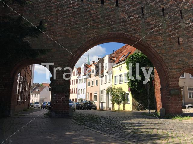 One of the gates from the Burgtor in Lübeck Germany