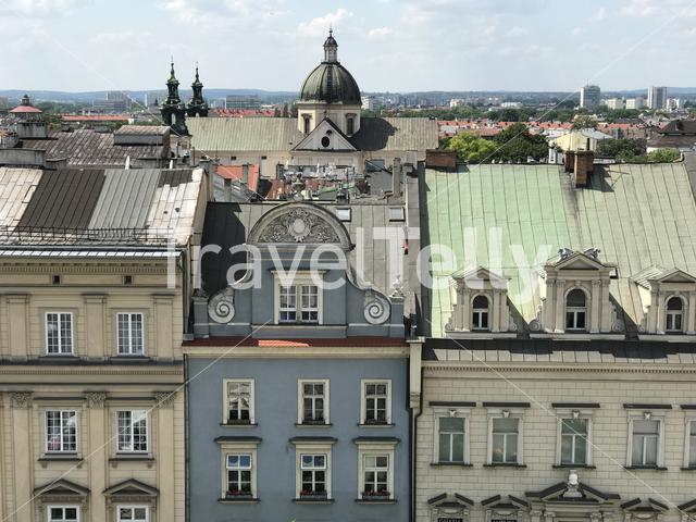 Krakow old town seen from the Town Hall Tower in Poland