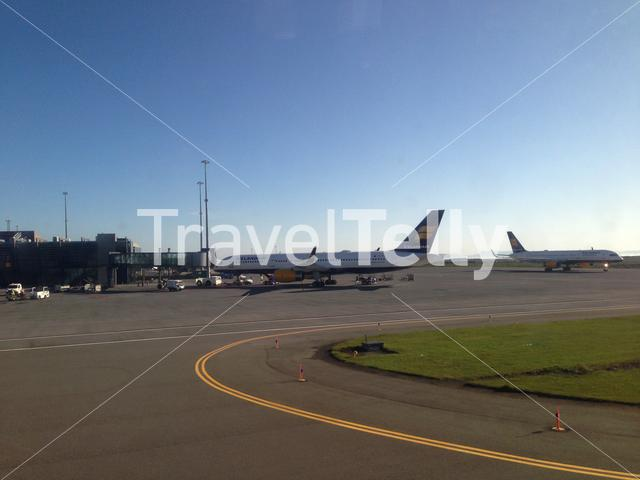 Icelandair airplanes at Keflavik International Airport in Iceland