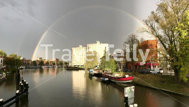 Rainbow above a canal in Groningen