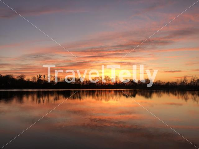 Sunset reflection in a lake around Zelhem, The Netherlands
