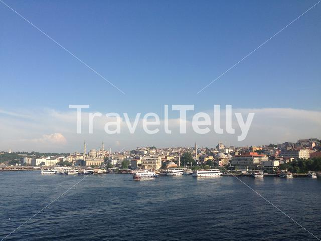 Golden Horn seen from the Halic Metro Bridge in Istanbul Turkey