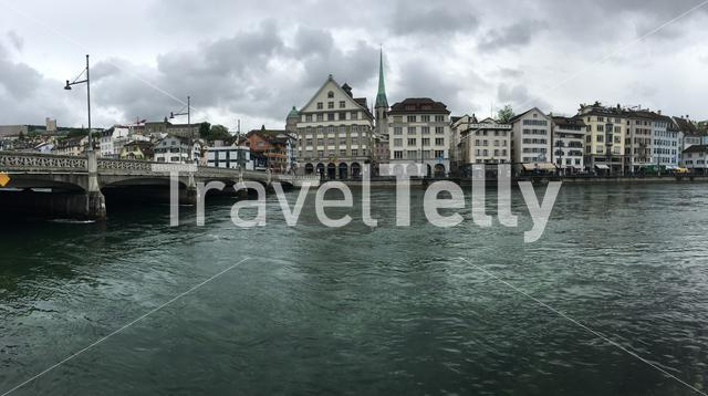 Panorama from the Limmat river with the predigerkirche in Zurich Switzerland