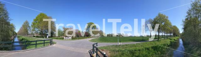 Panorama from a canal around Veldhoek in Gelderland during spring, The Netherlands