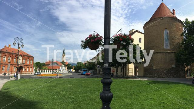 Panorama from the Cathedral of Zagreb square in Zagreb Croatia