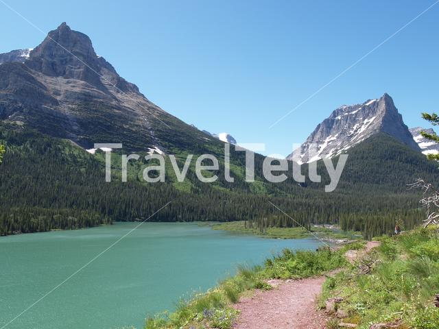 Lake and mountain landscape in Grand Teton National Park
