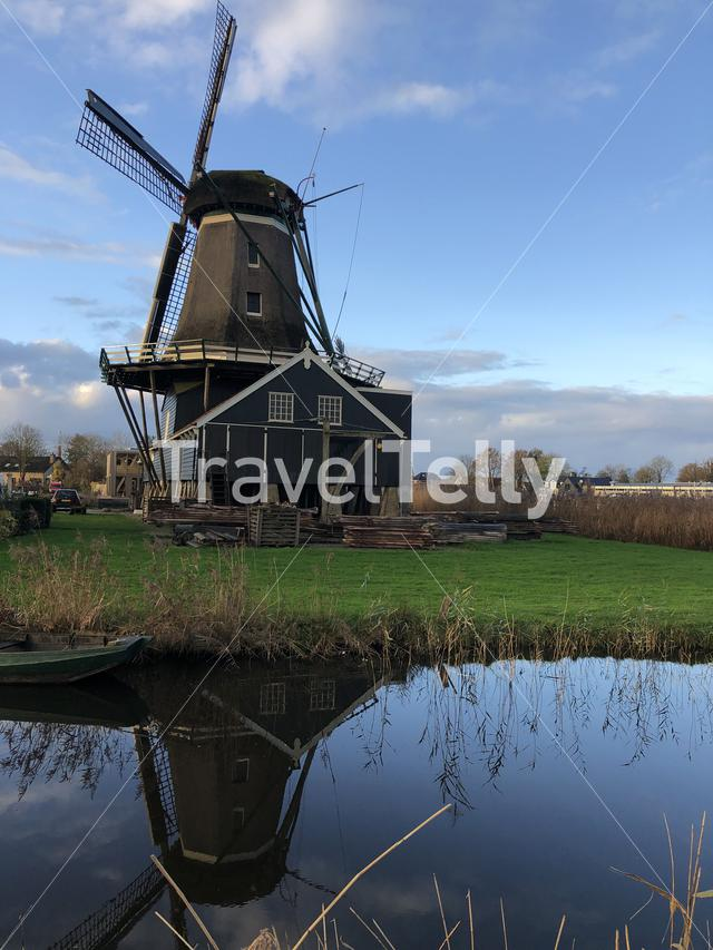 Windmill in IJlst during autumn Friesland The Netherlands