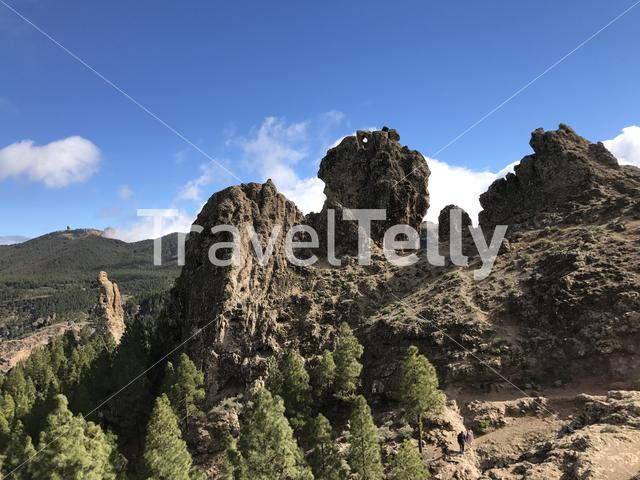 Landscape around the Roque Nublo a volcanic rock on the island of Gran Canaria