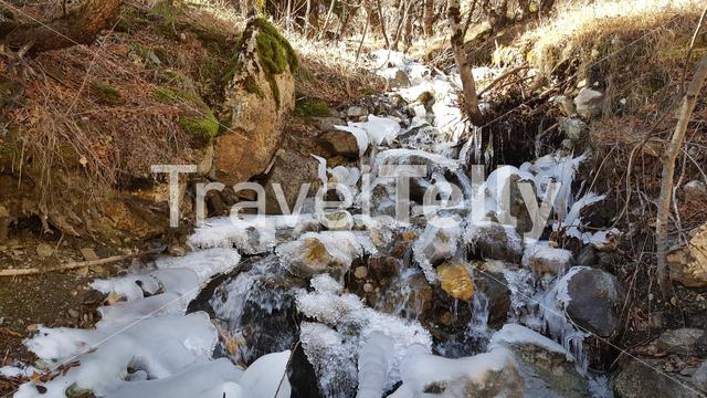 Small river with ice in Mavrovo National Park Macedonia