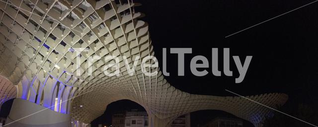 Panorama from Metropol Parasol at night in Seville Spain