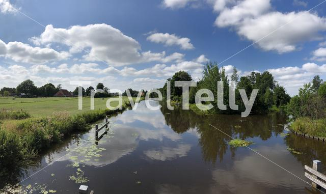 Panorama from a canal of the turfroute around Gorredijk in Friesland The Netherlands