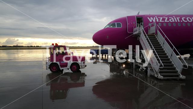 Pink Wizz Air airplane at Warsaw Airport in Poland