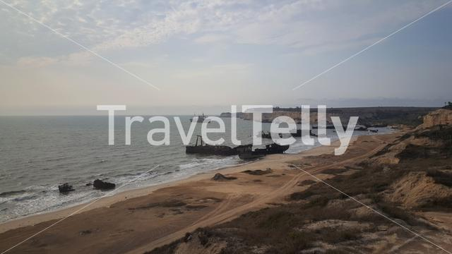 Shipwreck Beach at Praia de Santiago in Angola