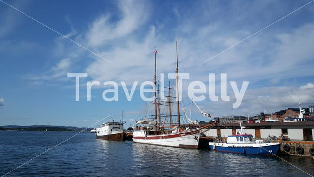 Harbor Of Oslo Norway with a classic sailship