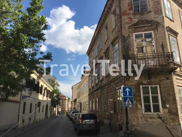 Street in the old town towards the St. Mark's Church in Zagreb Croatia
