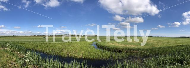 Panoramic landscape from farmland in Friesland The Netherlands