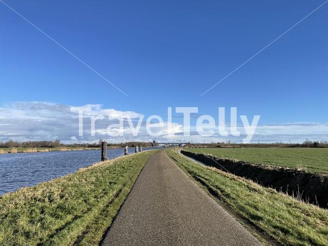 Road next to the Prinses Margriet canal in Friesland The Netherlands
