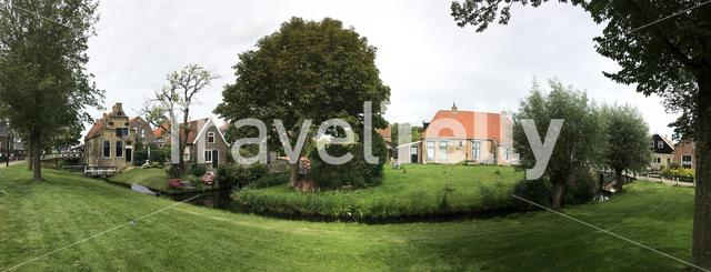 Panorama from traditional houses in Hindeloopen Friesland The Netherlands