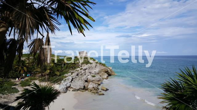 Ancient Mayan fortress and the blue caribbean sea in Tulum Yucatan, Mexico