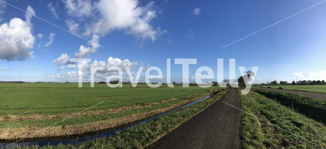 Panorama from a bicycle path around Langelille in Friesland, The Netherlands