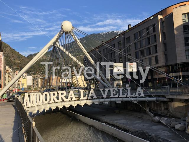 Andorra La Vella sign at the Pont de Paris bridge in Andorra