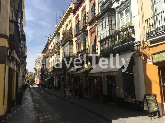 Calle Hernando Colon street in the old town of Seville Spain