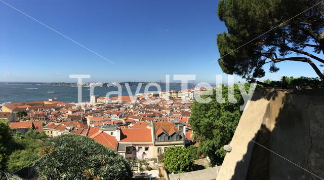 View from the Castelo de S. Jorge overlooking the historical center of Lisbon Portugal