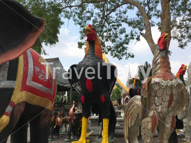 Big rooster Statues at Wat Yai Chai Mongkhon a Buddhist temple in Ayutthaya, Thailand