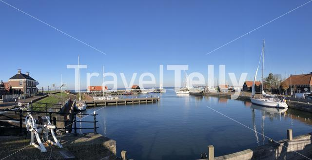 Panorama from the harbor in Hindeloopen during autumn in Friesland, The Netherlands