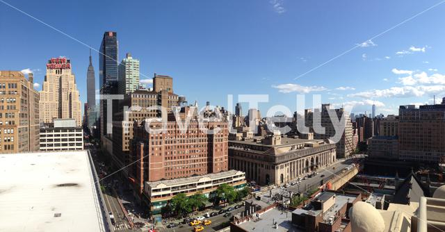 Panorama from Manhattan skyline with the Empire state in New York City