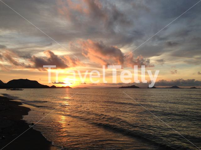 Sunset from the beach in Labuan Bajo Flores Indonesia