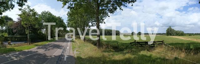 Panoramic landscape around Rijs in Friesland The Netherlands