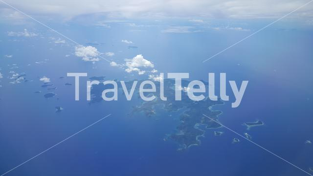 Palawan island seen from above out of plane, Philipinnes