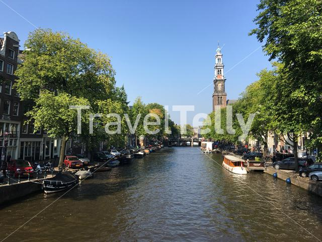 Prinsengracht with the Westertoren in Amsterdam The Netherlands